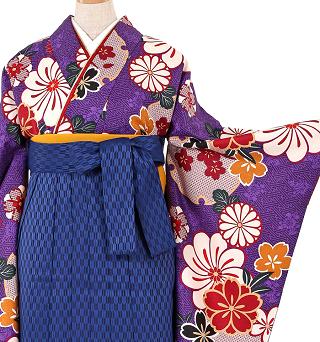 紺袴&紫の卒業式袴セット