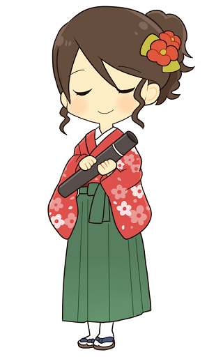 文京区卒業式袴レンタル安い相場、固定画像1緑の袴で目を閉じた女性