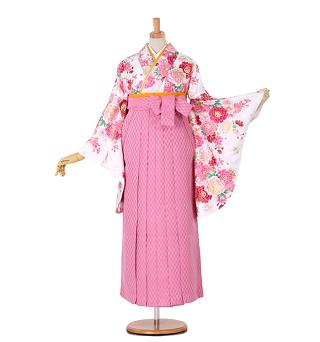 サイズSあり ピンク矢絣袴&白バラ二尺袖卒業袴レンタル