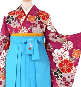 卒業式袴レンタル大きいサイズ水色袴卒業袴No.055-0257-L2L3L-320卒業袴No.055-0257-L2L3L-600