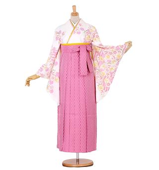 サイズSあり ピンク矢絣袴&白桜二尺袖卒業袴